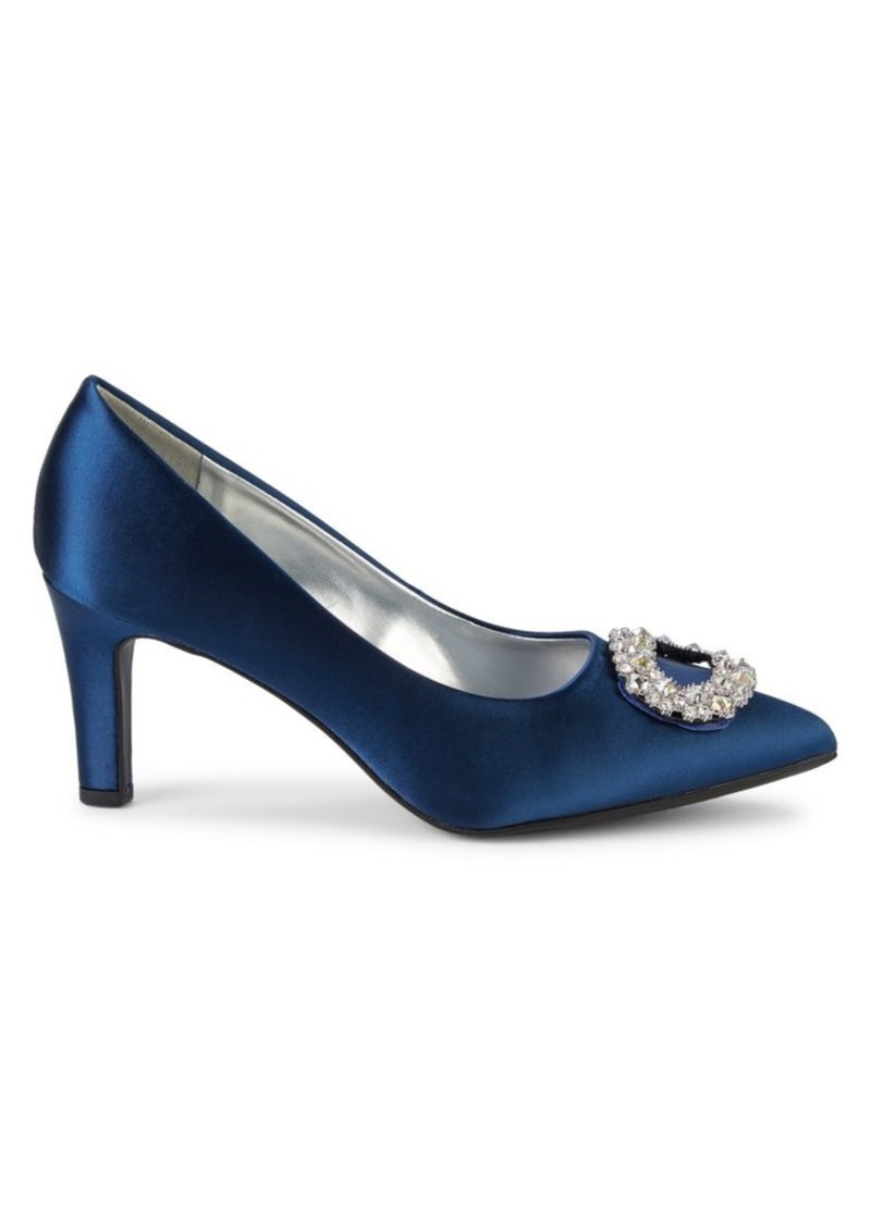 Anne Klein Gael Embellished Buckle Point-Toe Pumps