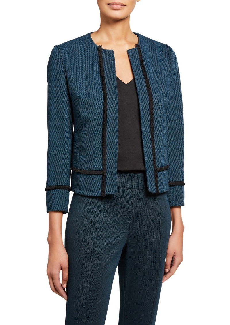 Anne Klein Herringbone Fringe Open Jacket