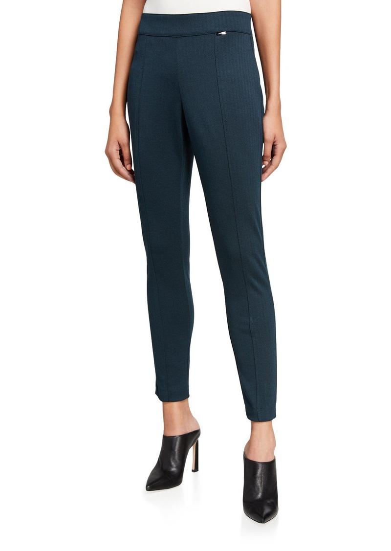 Anne Klein Herringbone Knit Side-Zip Leggings