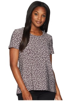 Anne Klein High-Low Short Sleeve Shirt - Dot Print Ity