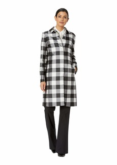 Anne Klein Large Check Peter Pan Collar Long Coat