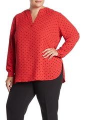 Anne Klein Long Sleeve Polka Dot Print Blouse (Plus Size)