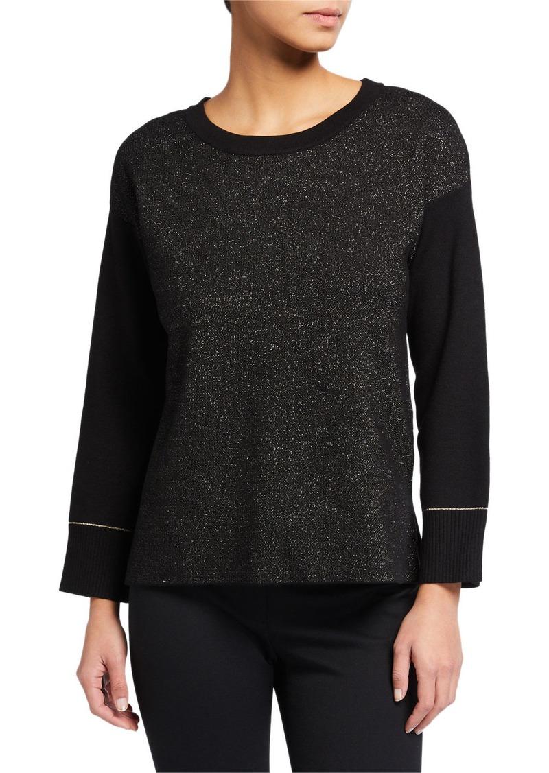 Anne Klein Metallic High-Low Sweater