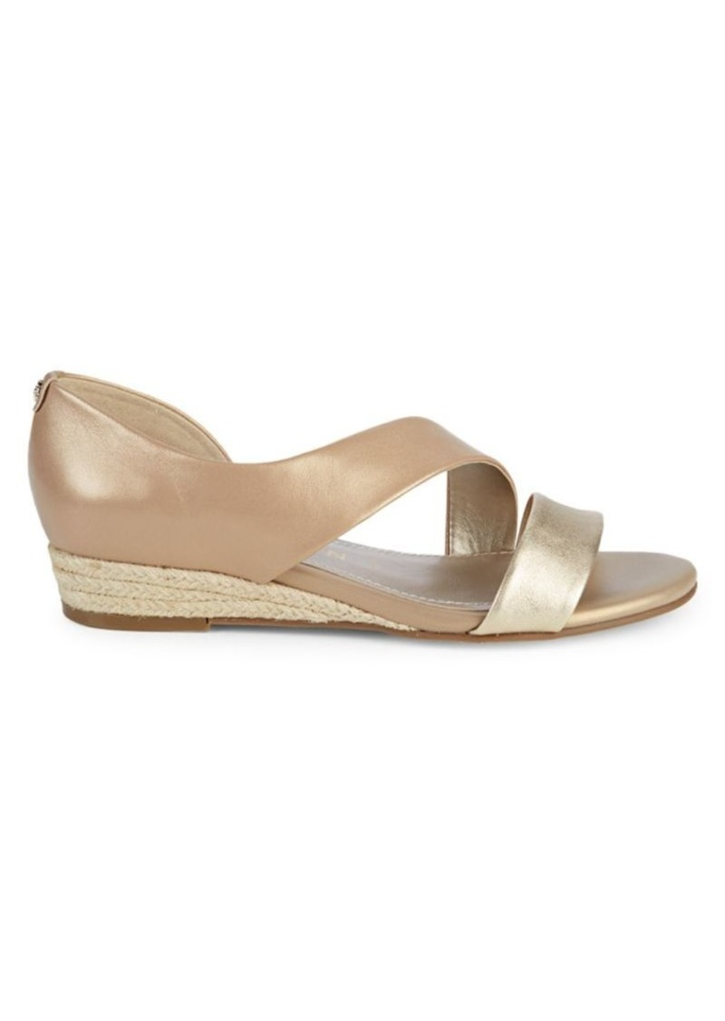 Anne Klein Metallic Leather Wedges