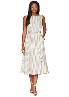 Anne Klein Midi Dress w/ Attached Sash - Dot Print