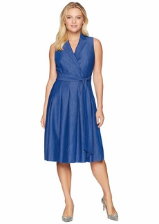 Anne Klein Notch Collar Wrap Dress