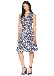 Anne Klein Notch Collar Wrap Dress with Full Skirt