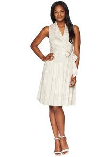 Anne Klein Notch Collar Wrap w/ Full Skirt - Printed Cotton Satten