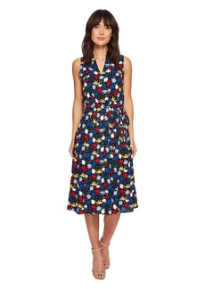 Anne Klein Novella Print Drawstring Waist Dress