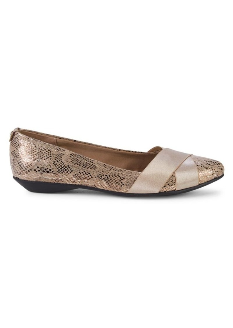 Anne Klein Oalise Snake-Print Point Toe Flats