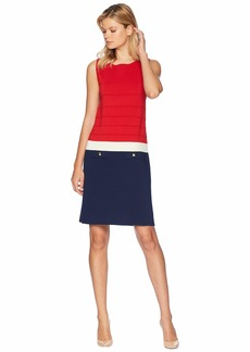 Anne Klein Ottoman Stitch Color Blocked Sheath Dress with Faux Pockets