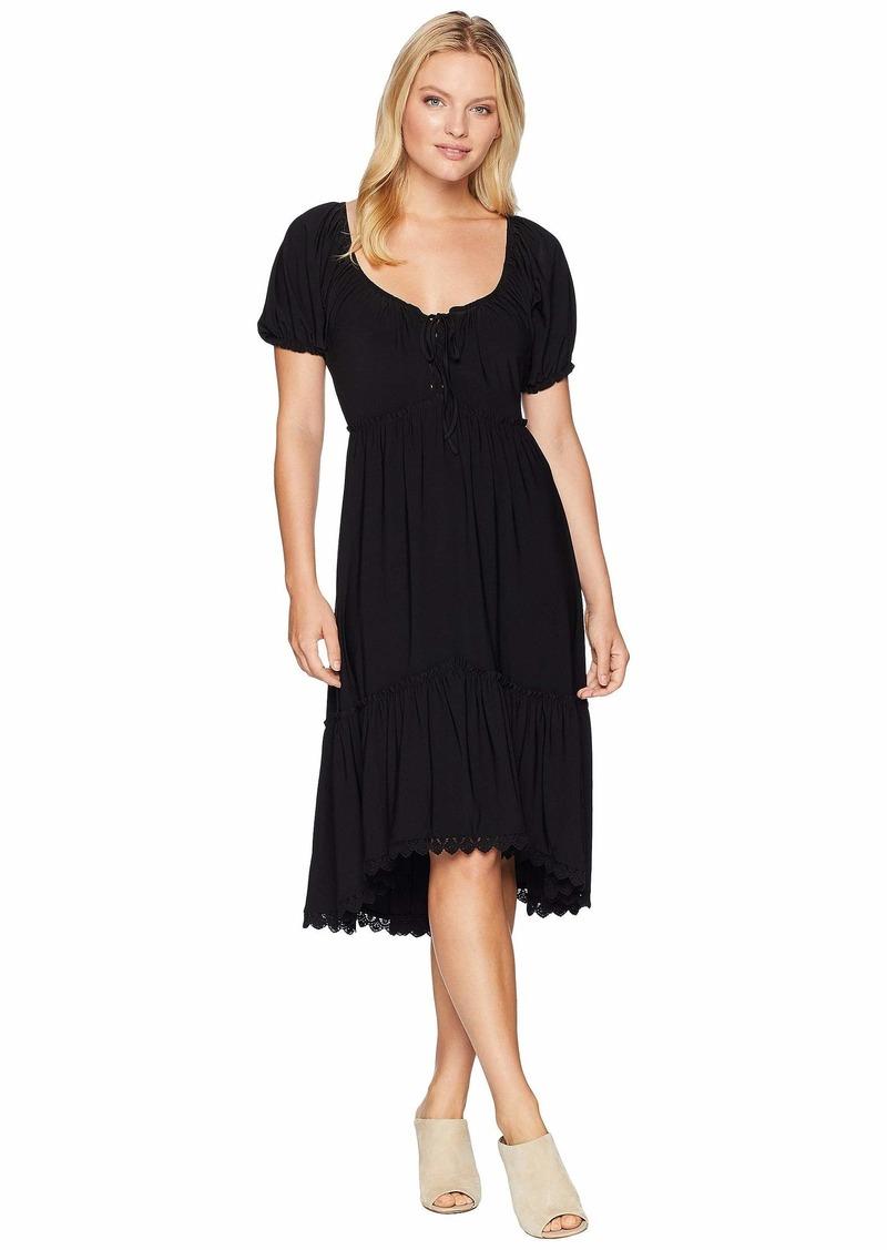 Anne Klein Peasant Short Sleeve Fit & Flare Shirtdress