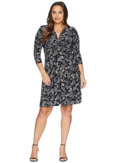 Anne Klein Plus Size 3/4 Sleeve Field Trip Print Knot Fit Knit Dress