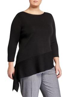 Anne Klein Plus Size Asymmetric Long-Sleeve Sweater