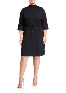 Anne Klein Plus Size Dolman Sleeve Drawstring Dress