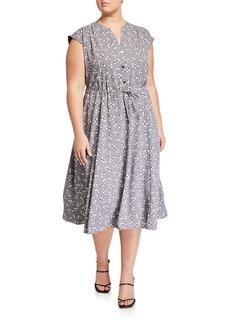 Anne Klein Plus Size Drawstring Midi Dress