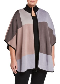 Anne Klein Plus Size Knit Colorblock Poncho