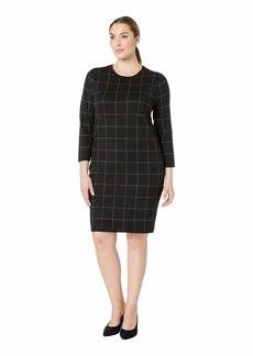 Anne Klein Plus Size Long Sleeve Crew Neck Printed Knit Dress