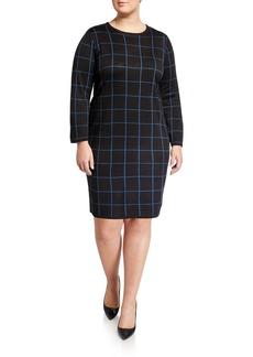 Anne Klein Plus Size Long-Sleeve Crewneck Knit Dress
