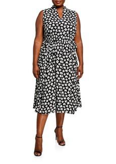 Anne Klein Plus Size Petal Printed Drawstring Midi Dress