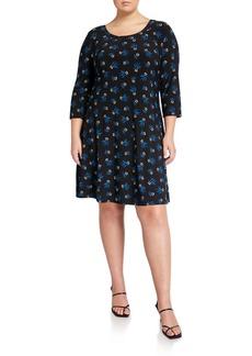 Anne Klein Plus Size Printed Long-Sleeve Trapeze Dress
