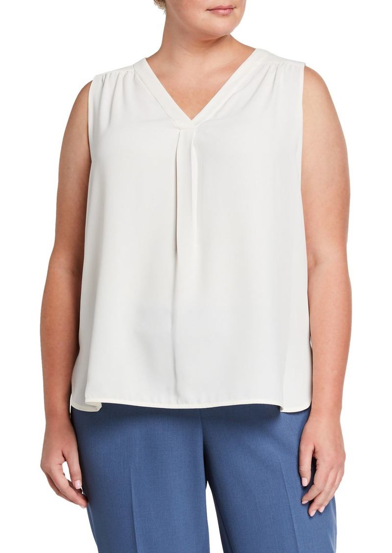 Anne Klein Plus Size Single Pleat Sleeveless Blouse