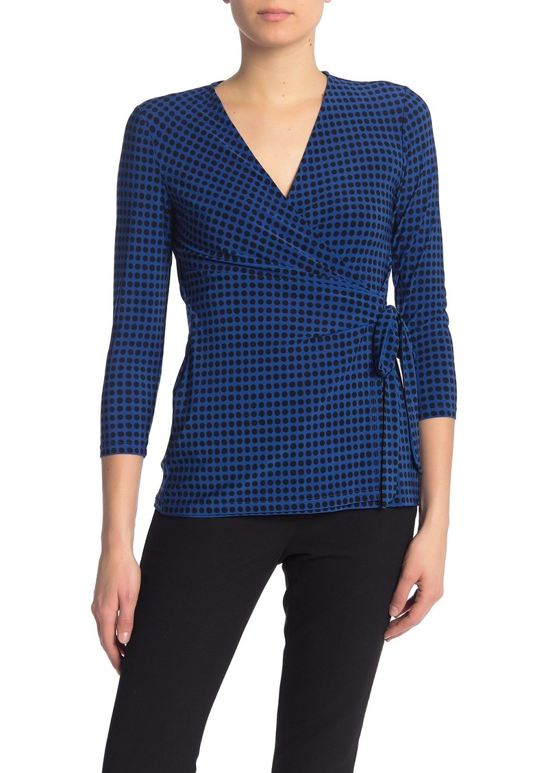Anne Klein Polka Dot Wrap Top