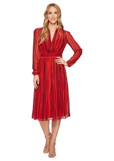 Anne Klein Print Georgette Long Sleeve V-Neck Fit & Flare Dress
