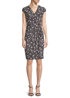 Anne Klein Printed Cap-Sleeve Wrap Dress