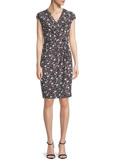 Anne Klein Printed Cap-Sleeve Wrap Dress