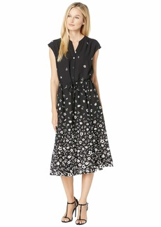 Anne Klein Printed CDC Drawstring Midi Dress