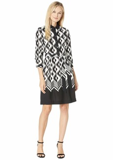Anne Klein Printed Color Block CDC Shirtdress with Sash