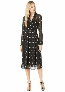 Anne Klein Printed GGT Long Sleeve V-Neck Fit & Flare Dress