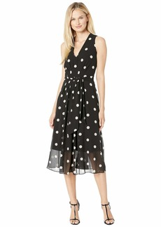 Anne Klein Printed GGT V-Neck Midi Dress