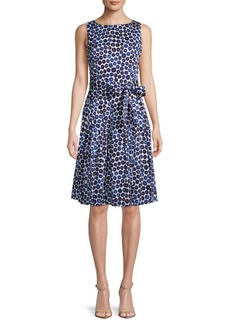 Anne Klein Printed Stretch Cotton Sateen Dress