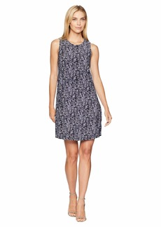 Anne Klein Printed U-Neck Flared Trapeze Dress