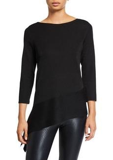 Anne Klein Ribbed 3/4-Sleeve Asymmetric Pullover