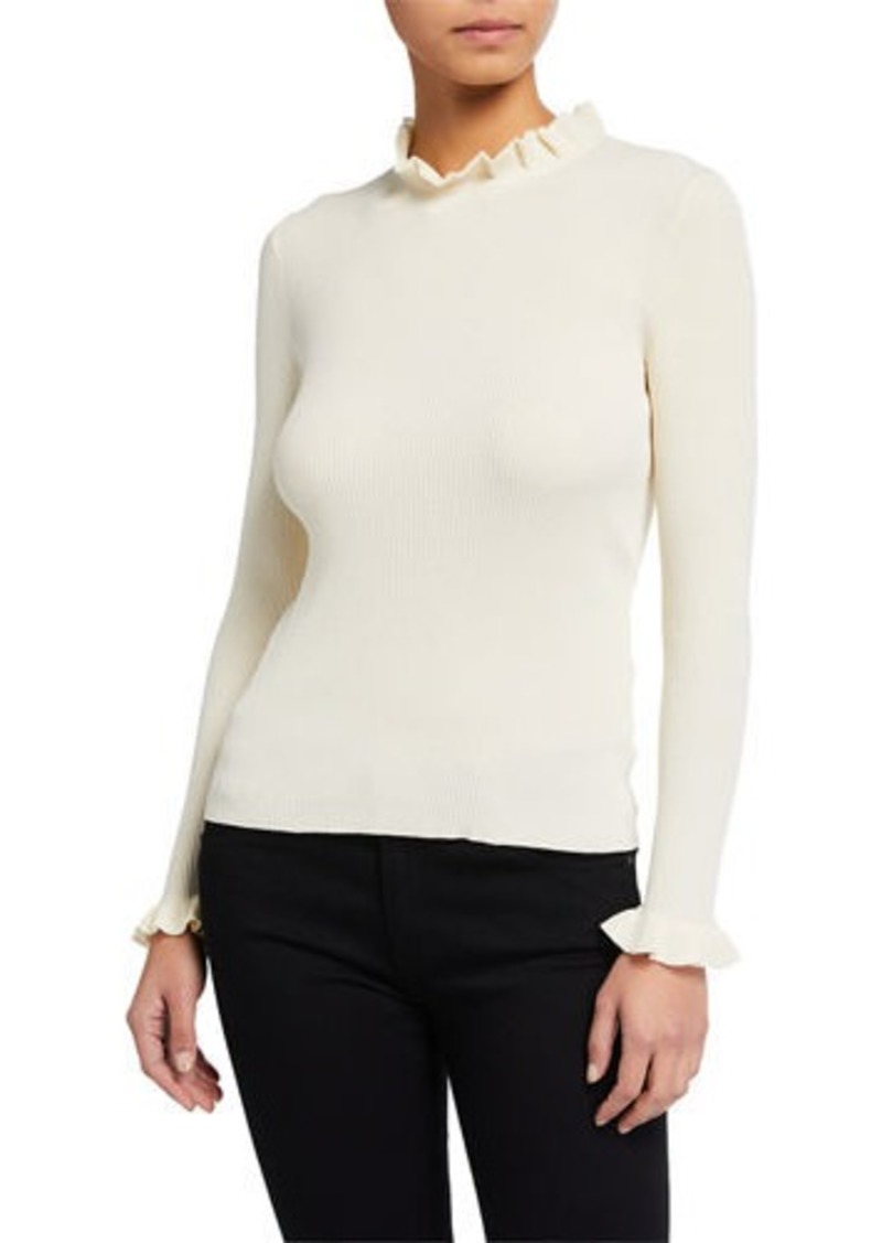 Anne Klein Ribbed Ruffle-Neck Sweater