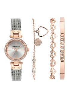 Anne Klein Rose Gold-Tone Swarovski Crystal Accent 26mm Mesh Watch & Bracelet Set
