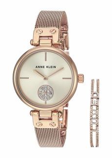 Anne Klein Rose Gold-Tone Watch and Bracelet Set