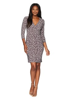 Anne Klein Ruched Wrap Front Dress - Stellar Dot Printed Ity
