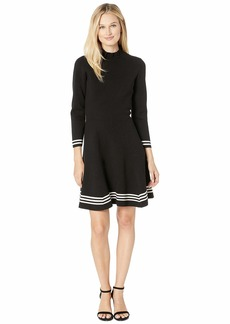 Anne Klein Ruffle Mock Neck Long Sleeve Fit & Flare Dress