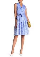 Anne Klein Scattered Dot Notch Lapel Dress