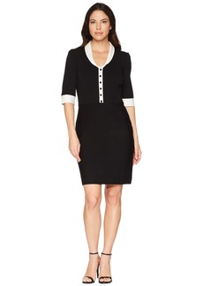 Anne Klein Shawl Collar Knit Sweater Dress