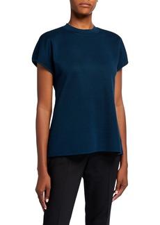 Anne Klein Short-Sleeve Mock-Neck Sweater