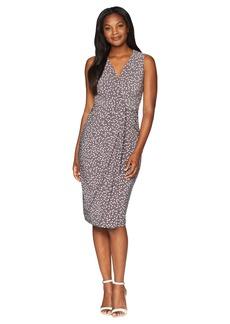 Anne Klein Sleeveless V-Neck Draped Dress- Stellar Dot Printed Ity