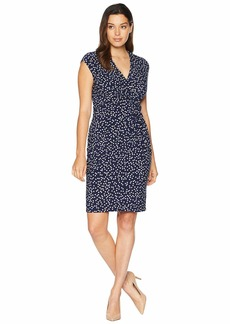 Anne Klein Small Stelar Dot Print ITY Side Twist Dress with Extended Sleeve
