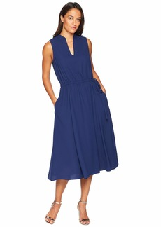 Anne Klein Solid CDC Split-Neck Drawstring Dress