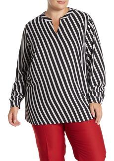 Anne Klein Split Neck Stripe Print Blouse (Plus Size)