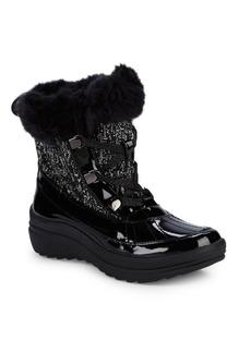 Anne Klein Sport Gaya Faux Fur-Trimmed Lace-Up Boots
